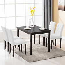 5 Piece Wood White Dining Table Set 4 Chairs Room Kitchen Breakfast Furniture