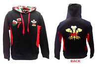 MENS  WALES WELSH CYMRU FEATHER DRAGON EMBROIDERY APPLIQUE BACK RUGBY HOODY