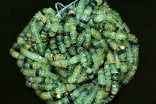 Ancient Roman Glass Cylinder Heishi Beads Strand  6x4 mm Afghanistan Green