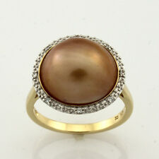 9ct Yellow Gold & Rhodium plated Plated Gold Fresh Water Pearl & White CZ Ring.