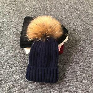 Winter Fur Pompom Hat Kid Boy Girl Cute Children Winter Bee Beanie Cap Baby Hats