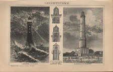Lithografie 1894: LEUCHTTÜRME. Leuchtturm von Eddystone. von Swinemünde. Schiffe