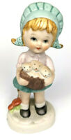 """Vintage Collectible 5"""" Figurine Blue Bonnet Girl Holding Basket of Puppies"""