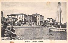 5155) VISERBA (RIMINI) PANORAMA DAL MARE ANIMATA, MOSCONE, BARCA VG IL 20/8/1922