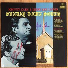 Johnny Cash, Jerry Lee Lewis Signed Vinyl, Autogramm