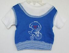 VINTAGE 1970's Carter's 12 Months Blue top with dog on a bike SHIRT Short Sleeve