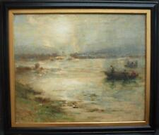 c1880s SCOTTISH IMPRESSIONIST FISHING LOCH FYNE at SUNSET Antique Oil Painting