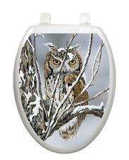 Toilet Tattoos Seat Decor  Winter Sheltered Owl Decoration Vinyl Snow Owl