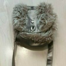 Playboy Brown Metallic Fur Shoulder Bag Ladies Fancy Fluffy Handbag Medium Cute