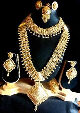 1 Gm Gold Plated COmplete Short Long Necklace Earrings Tikka Ring Wedding Set