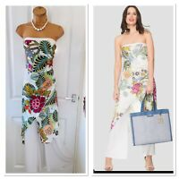 JOSEPH RIBKOFF Floral Jumpsuit With Overlay Detail Uk Size 16