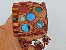 Old Vtg Mirror Work BOHO HIPPIE Pom Pom Embroidered Clutch/Wallet/Purse/Bag  P1