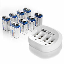 EBL Quick Battery Charger + (8 Pack) 9V Li-ion 600mAh Rechargeable Batteries
