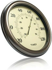 """Timex TX3000-2 Wall Hanging 11""""  Patio Thermometer Glass Lens & PVC Dial Outdoor"""