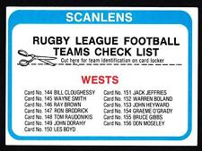 SCANLENS 1979  WESTS CHECK LIST UNMARKED