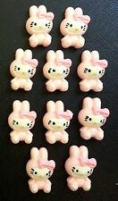 *8* x HELLO KITTY PINK EASTER BUNNY OUTFIT FLATBACK RESIN EMBELLISHMENT HAIR BOW