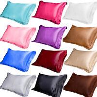 100% Ice Silk Satin Single Pillow Case Cushion Cover Pillowcase Home Bed Decor