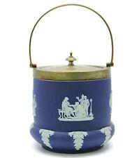 Antique Wedgwood Jasperware Cobalt Blue Biscuit Jar EPNS Silverplated Lid