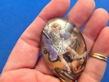 "ARCHANGEL St MICHAEL Saint GLASS Dome MAGNET Protection 2"" tall Saint Color"