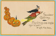 HALLOWEEN Witch on Broom & Jack O'Lanterns~Leubrie & Elkus Ser 7018~HBG POSTCARD