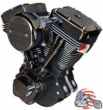 "Ultima El Bruto Complete Evolution 127"" Black Gem Chrome Motor Engine Harley Evo"