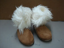 New Women's Eskimo Slipper Bedroom Shoes Light Brown w/ Cream Size Small