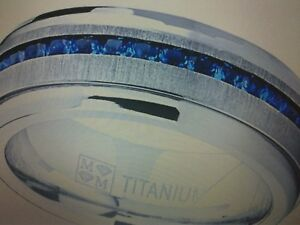 MENS TITANIUM  LCS SAPPHIRE WEDDING BAND RING SIZES 7-13 CK TO SEE IF LEFT