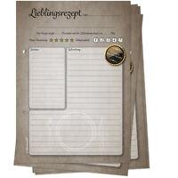 50 Rezeptkarten zum Selberschreiben für Rezeptordner Retro-Design Rezepte