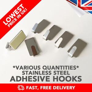 Adhesive Hooks Hangars Metal Stainless Steel (Towel Sticky) - CHEAP! - UK