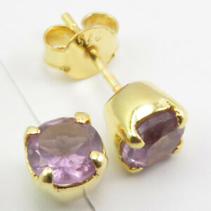 """Yellow Gold Overlay Natural AMETHYST Claw Setting Earrings 0.2"""" 925 Solid Silver"""