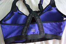 Victoria's Secret sports bra VSX the knockout 36D front zip close blue reflectiv