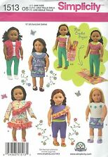 """Simplicity 1513 Doll Clothes 18"""" and Bag  Craft Sewing Pattern"""