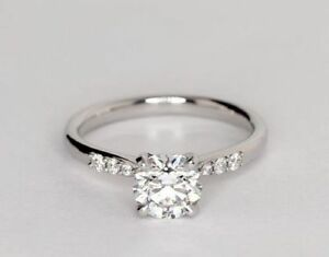 1.70 Ct Round Cut Diamond Engagement Wedding Ring 925 Sterling Silver Size N M P