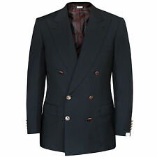 BRIONI $4,700 black Flaminio double breasted sportcoat blazer jacket 40/50 L NEW