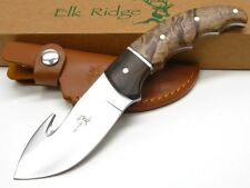 ELK RIDGE Burlwood FULL TANG GUTHOOK Hunting Skinning Knife + Sheath! ER-129