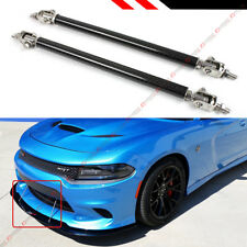 Carbon Fiber Look Adjustable Front Bumper Lip Splitter Strut Rod Tie Support Bar