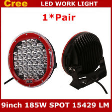 """2X 9"""" 185W Round Red Spot Cree LED Work Light Driving Lamp JEEP 4WD SUV Off-road"""
