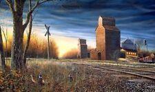 Jim Hansel The Harvest Season Pheasant Grain Elevator Print  12 x 7.75