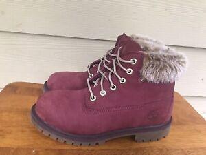 Kids Timberland Boots 6 Inch Premium Waterproof Boots Red Boys Girls US Sz 3