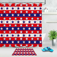 """71"""" Red Blue White Abstract Flag Bathroom Shower Curtain Set Waterproof Fabric"""