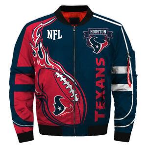 HOUSTON TEXANS Men's Bomber Jacket Light Jackets Football Team Fans Logo NEW