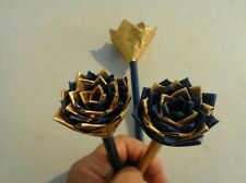 Duct Tape Flower Pens Set of 3  Blue and Gold 258386