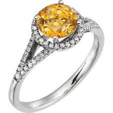 Diamante & ORIGINAL CITRINO PIEDRA DE NACIMIENTO ANILLO EN 14k ORO BLANCO (1/5