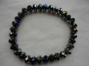 Rainbow blue faceted crystal 8mm beads 16 gram stretch bracelet
