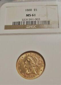 1888 LIBERTY HEAD HALF EAGLE $5 US GOLD COIN NGC MS61 VERY RARE US COIN.