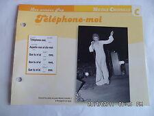 CARTE FICHE PLAISIR DE CHANTER NICOLE CROISILLE TELEPHONE MOI