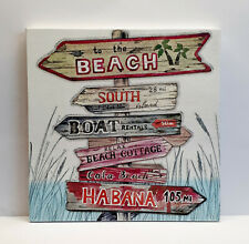 """Beach Road Signs Handmade Kitchen Wall Picture Plaque 6 x 6"""""""