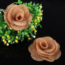12pcs Handmade Hessian Burlap Roses Shabby Chic Flowers Rustic Wedding Decor
