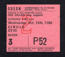 1980 Ian Gillan from Deep Purple Concert Ticket Stub Odeon London UK Glory Road