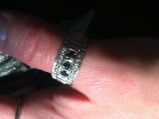 Accent Stones Ridged Design Ring Mens Vintage 925 Hallmarked Sapphire And